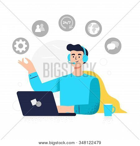 Modern Customer Service Illustration. Positive Man Answers Phone Calls, Chatting With Customers And
