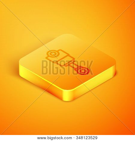Isometric Line Engine Piston Icon Isolated On Orange Background. Car Engine Piston Sign. Orange Squa
