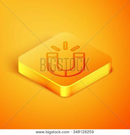 Isometric Line Magnet Icon Isolated On Orange Background. Horseshoe Magnet, Magnetism, Magnetize, At