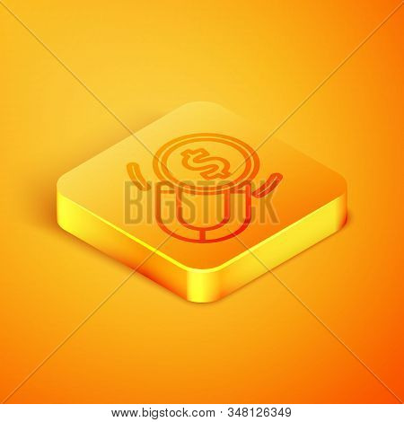 Isometric Line Magnet With Money Icon Isolated On Orange Background. Concept Of Attracting Investmen