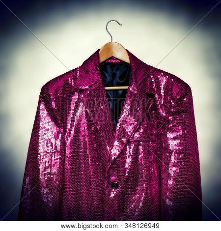 Magenta coloured sequin costume jacket