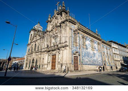 Porto, Portugal - January 20, 2020: Igreja Do Carmo, A Famous Church In Porto, Portugal Known For It