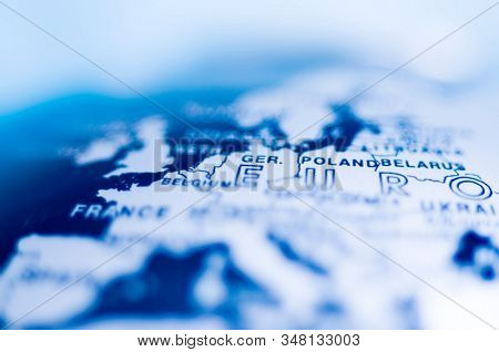 Close up of blue europe map