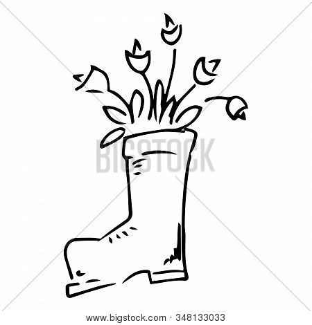Rubber Boot With Tulips And Daffodils Icon. Vector Illustration Of Spring Flowers In A Rubber Boot.