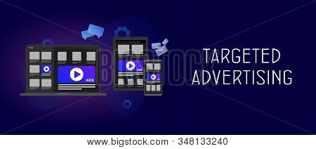 Targeted Advertising And Native Programmatic Marketing Concept. Multi Target Audience Ads  With Cros