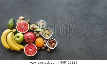Mixed Helathy Fresh Fruits For Layout Isolated On Concrete Background. Copy Space