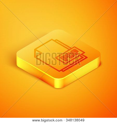 Isometric Line Pdf File Document. Download Pdf Button Icon Isolated On Orange Background. Pdf File S