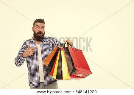 Man Happy Consumer Hold Shopping Bags. Buy And Sell. Consumer Protection Laws Ensure Rights. Fair Tr