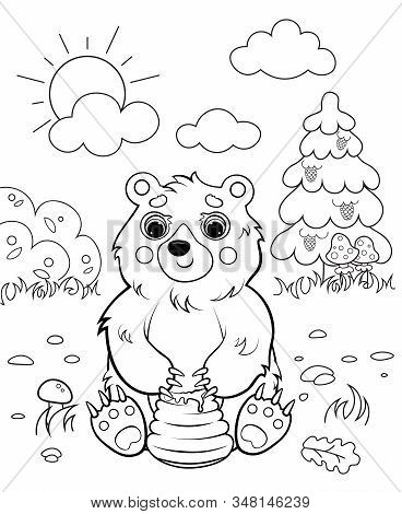 Coloring Page Outline Of Cartoon Bear With Honey. Vector Image With Forest Background. Coloring Book