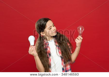 No Loss Of Enthusiasm. Little Child Choose Light Idea Bulb. Education Concept. Small School Kid Red