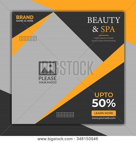 Beauty and Spa social media post template,  Promotional square web banner for social media. Elegant sale and discount promo. - Vector.