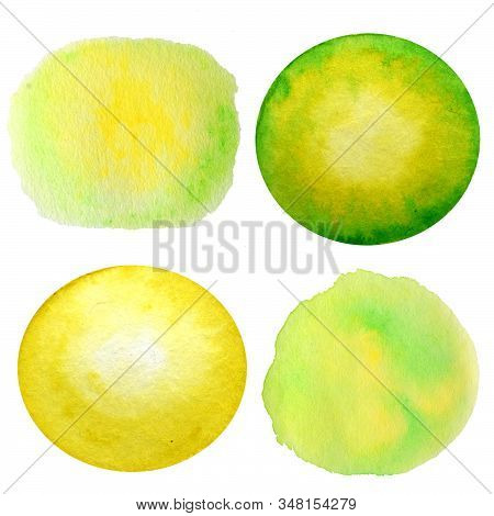 Watercolor Hand Painted Abstract Yellow Green Circle Background Set. Subtle Ink Gradient On Textured