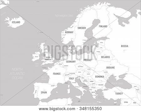 Europe Map - White Lands And Grey Water. High Detailed Political Map Of European Continent With Coun