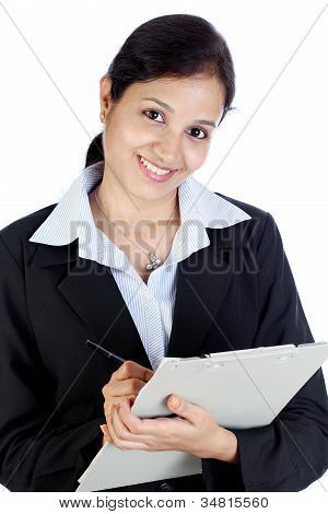 Young Business Woman Taking Notes