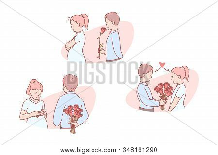 Love, Romantic, Relation, Invitation, Set. Infatuated Young Boy Presenting Bouquet To Girl. Romantic