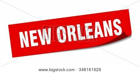 New Orleans Sticker. New Orleans Red Square Peeler Sign