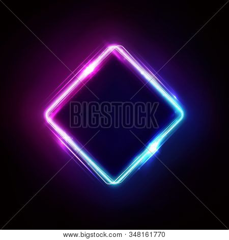 Neon Rhombus Frame Or Neon Lights Sign. Retrowave Vector Abstract Background, Tunnel, Portal. Geomet