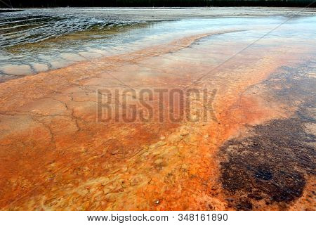 Abstract, Like A Hot Lava Orange Geyser In A Yellowstone National Park. Grand Prismatic Spring