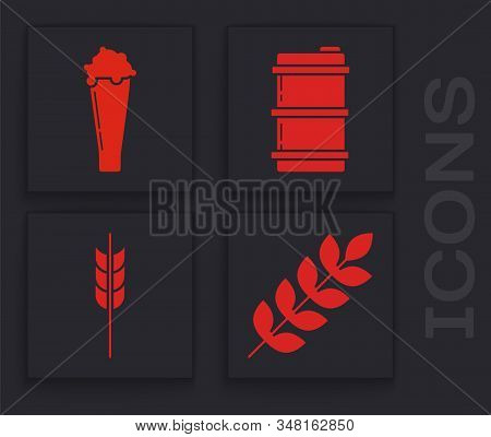 Set Cereals Set With Rice, Wheat, Corn, Oats, Rye, Barley, Glass Of Beer, Metal Beer Keg And Cereals