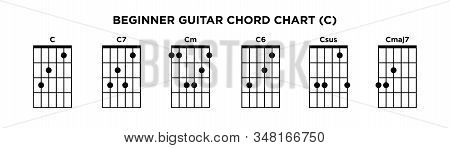 Basic Guitar Chord Chart Icon Vector Template. C Key Guitar Chord.