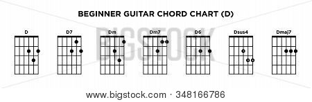Basic Guitar Chord Chart Icon Vector Template. D Key Guitar Chord.