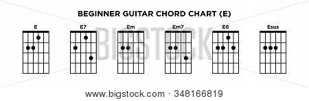 Basic Guitar Chord Chart Icon Vector Template. E Key Guitar Chord.
