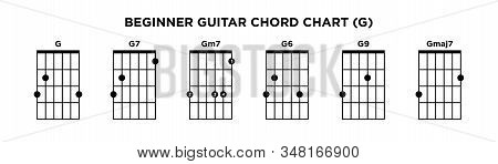 Basic Guitar Chord Chart Icon Vector Template. G Key Guitar Chord.