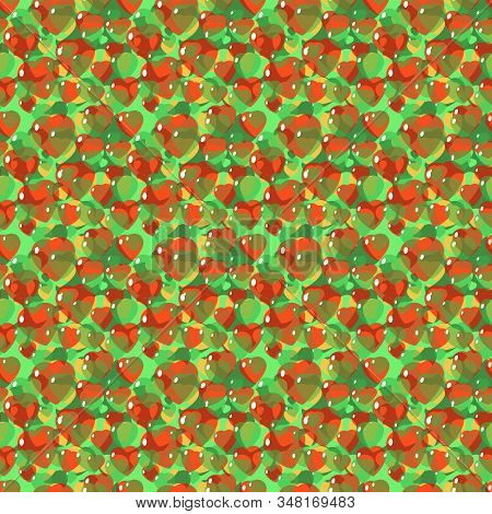 St. Valentine, Vector, Seamless Pattern Of Stylized Hearts In A Romantic Style, In Green Colors. Bac