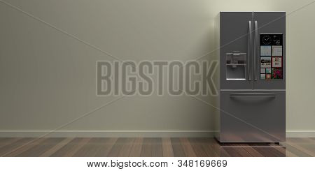 Refrigerator Smart Appliance, Refrigerate. Home Metal Silver Side By Side Fridge On Wood Floor, Beig
