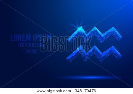 Aquarius Eleventh Zodiac Sign Abstract Background. Low Poly Wireframe Digital Banner. Linear And Pol