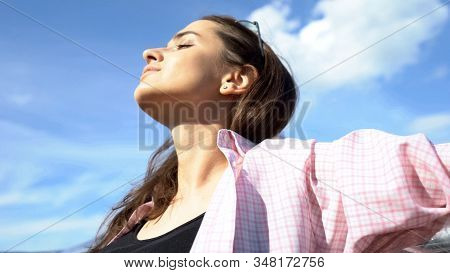 Young Beautiful Lady Enjoying Vacations On Seaside, Freedom Inspiration Closeup