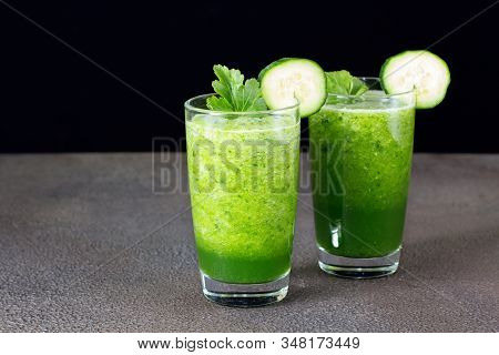 Glass Of Fresh Cucumber Juice. Green Smoothie. Detox Water. Healthy Drink.