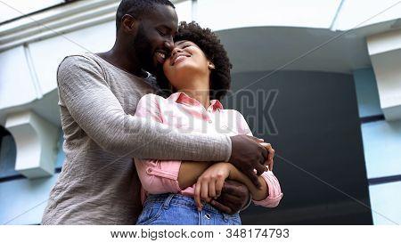 Sweethearts Hugging, Newlyweds On Honeymoon, Relations Happiness, Affection