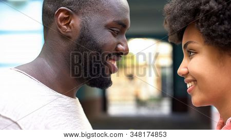 Loving Couple Looking At Each Other, Romantic Date In City, Feeling Affection
