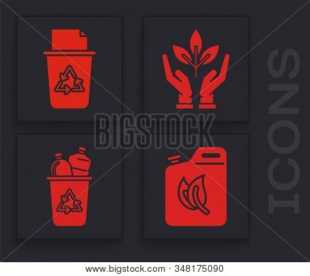 Set Bio Fuel Canister, Recycle Bin With Recycle Symbol, Plant In Hand Of Environmental Protection An