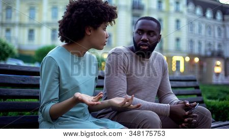 Man And Woman Arguing Outdoor, Spouse Disrespect, Misunderstanding In Couple