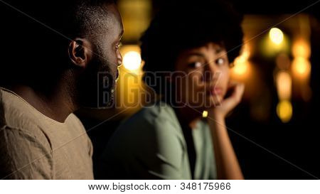 African Male Apologizing To Girlfriend, Arguing Couple At Night City, Conflict