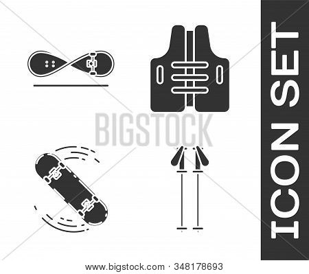 Set Ski Poles, Skateboard Trick, Skateboard Trick And Life Jacket Icon. Vector