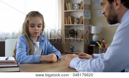 Little Girl Is Angry With Her Father, Ignoring Him, Family Conflict, Parenting