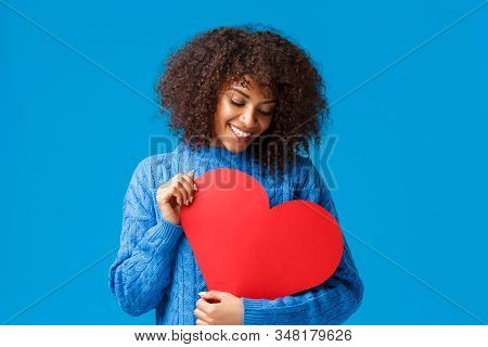 Tenderness, Sympathy And Relationship Concept. Dreamy Lovely African-american Girlfriend In Love, Se