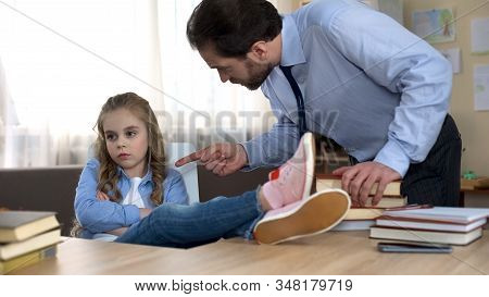 Conflict Between Father And Daughter, Offended Little Girl Ignoring Daddys Words