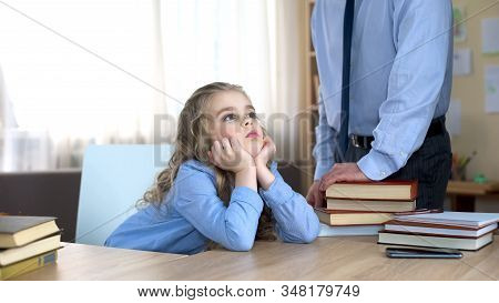 Offended Little Girl Neglecting Homework, Ignoring Daddys Remarks, Conflict