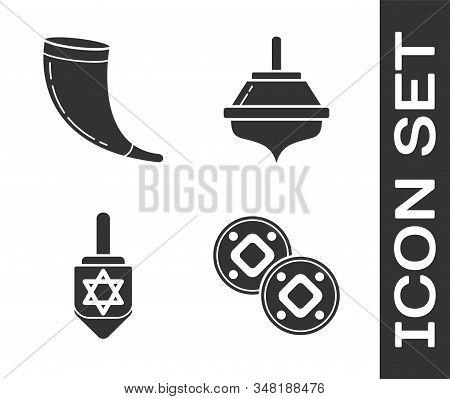 Set Jewish Coin, Traditional Ram Horn, Shofar, Hanukkah Dreidel And Hanukkah Dreidel Icon. Vector