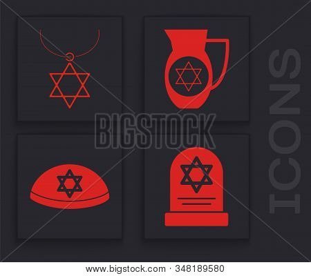 Set Tombstone With Star Of David, Star Of David Necklace On Chain, Decanter With Star Of David And J