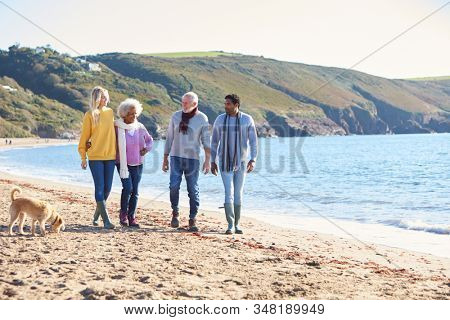 Senior Couple Hold Hands Walking Along Shoreline With Adult Offspring And Dog On Winter Beach Vacation