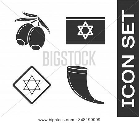 Set Traditional Ram Horn, Shofar, Olives Branch, Star Of David And Flag Of Israel Icon. Vector
