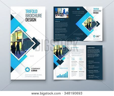 Trifold Brochure Design With Square Shapes, Corporate Business Template For Trifold Flyer. Creative