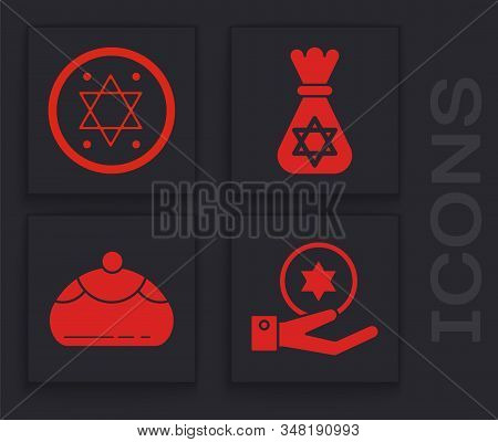 Set Jewish Coin On Hand, Jewish Coin, Jewish Money Bag With Star Of David And Jewish Sweet Bakery Ic
