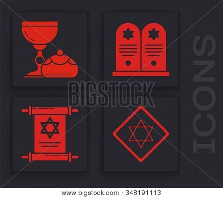 Set Star Of David, Jewish Goblet And Hanukkah Sufganiyot, Tombstone With Star Of David And Torah Scr