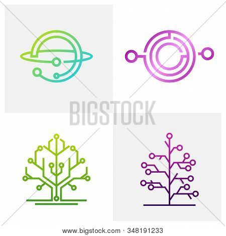 Set Of Circuit Logo Design Vector Template, Circular Logo Icon, Link Icon With Dot, Circuit Element,